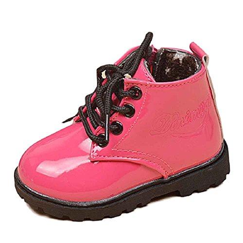 Chaussures,Malloom BéBé Garçons Filles De Style De L'armée Des Enfants D'hiver Martin Bottes Chaussures Chaudes (21, Noir 1) Rose vif