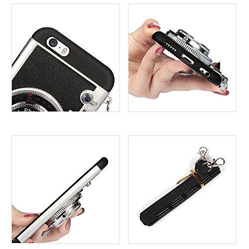 VComp-Shop® TPU Silikon Handy Schutzhülle mit Kamera Abdeckung Design für Apple iPhone 5/ 5S/ SE + Großer Eingabestift - SCHWARZ SCHWARZ + Mini Eingabestift