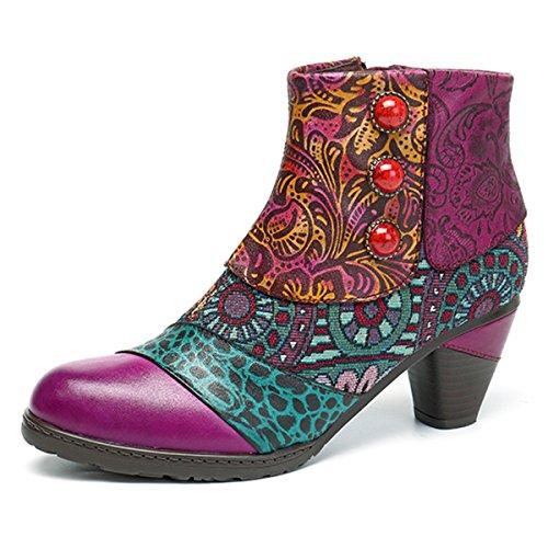 Socofy Damen Ankle Boots, Kurzschaft Stiefel High-Top Classic Lederstiefel Leather Boots Frau Zipper Handmade Chukka Lederschuhe Lila 39 (Classic Chukka)