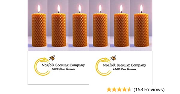 BOX 8 PCS BEESWAX  HAND ROLLED CANDLES