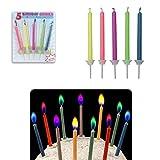 5 velas de cumpleaños de llama colorida con candelabro - diferentes...