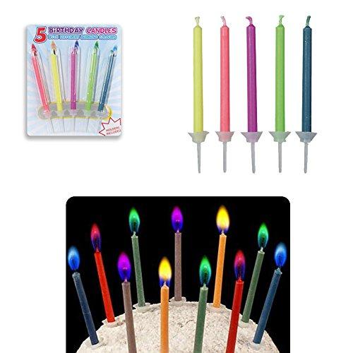 5 velas de cumpleaños de llama colorida con candelabro - diferentes colores - vela infantil mágica - pastel de cumpleaños de velas