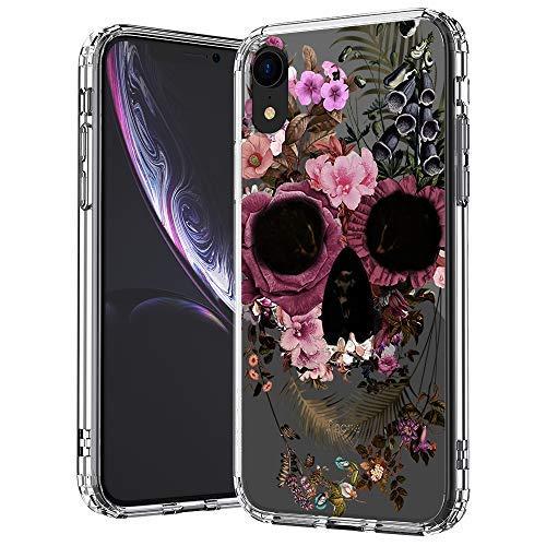 MOSNOVO iPhone XR Hülle, Blumen Blühen Flower Totenkopf Schädel Muster TPU Bumper mit Hart Plastik Hülle Durchsichtig Schutzhülle Transparent für iPhone XR (Flower Skull)