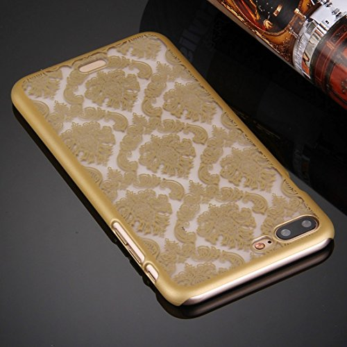 Hülle für iPhone 7 plus , Schutzhülle Für iPhone 7 Plus Präge Blumen Muster Kunststoff Schutzhülle ,hülle für iPhone 7 plus , case for iphone 7 plus ( Color : Black ) Gold