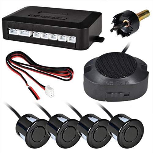 SayHia Auto-Rückwärtsradar-System, Auto-Rückwärts-Unterstützungsradar-System mit 4 Parksensoren Auto-Sicherheitsalarm/Summer-Anzeige (Schwarz) -