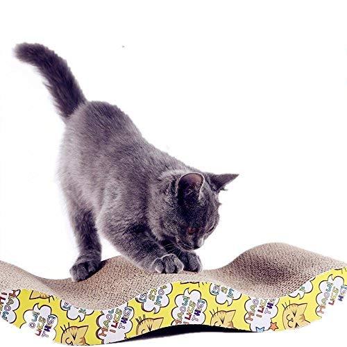 LOYEH Kratzbaum Karton für Kleine Katzen und Hunde, Wellpappe Kratzfläche mit Wave Gebogen Katzenminze Cat Karton Sofa Lounge Wave, Braun -