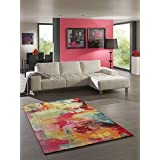 Alfombra de Salón pelo corto Alfombra Moderna Designer Alfombra Splash 20754Belis 110Multi, multicolor, 80 x 150 cm
