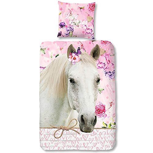Aminata Kids - Kinder-Bettwäsche-Set Pferde 135-x-200 cm Mädchen, Jugendliche - Baumwolle - weiß, rosa & pink - weiches Material, kräftige Farben, Reißverschluss & Öko-Tex (Tiere Sachen Freundschaft)