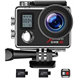 Campark Action Camera 4K WiFi Ultra HD Sports Cam Underwater Waterproof 30M 170° Wide-Angle Lens with Remote Control and 2 Recharge Batteries with Mounting Accessories Kit - ACT76