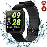 C-Xka IP67 Wasserdichte Smart Watch, Bunte Bluetooth-Armbanduhr/Pedometer-Analyse/Schlafüberwachung / Pulsmesser-Tracker für Android und Lange Standby-iOS-Smartphones (Farbe : SCHWARZ)