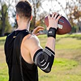 Szuch Pro Compression Support Sleeve for Tendonitis+ Adjustable Wrist Supports for Workouts Weightlifting Tennis and Golfer's Elbow Tendonitis Elbow Sleeves Support (Black-White, M: 9.5 to 10.5)