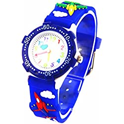 Boys Girls Moving Cloud Second Hand 3D Planes Strap Children Kids Environmentally Friendly Silicone Watch Blue