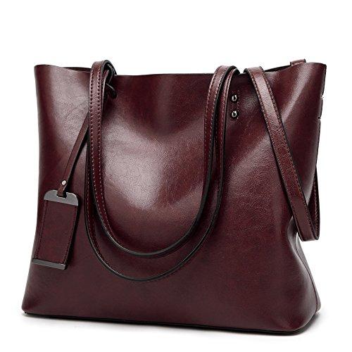 Borsa a tracolla di modo retro di acquisto della borsa di cuoio dellunità di elaborazione portatile delle donne 32 * 12 * 29cm Marrone scuro
