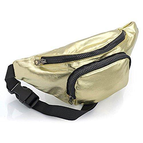 Metallic Gold oder Silber Bauchtasche mit Vortasche Festival Urlaub Tasche gold