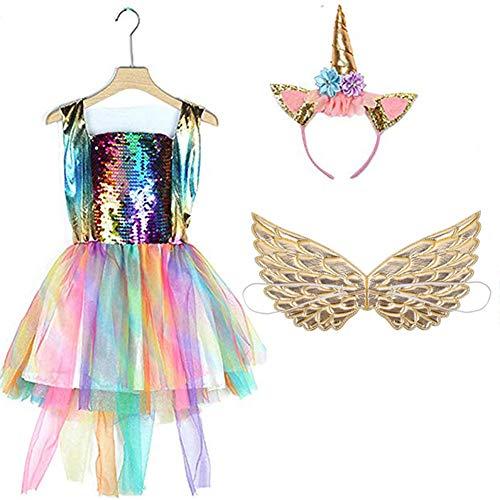 2019 neueste Pailletten Regenbogen Einhorn Mädchen Kleid Kinder Party Prinzessin Halloween Kostüm (140 cm, Rainbow - Regenbogen Prinzessin Kind Kostüm