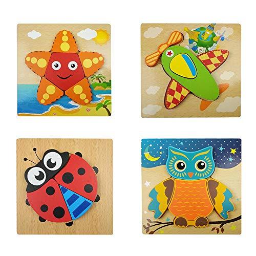 Luckyx Holzpuzzle Ab 1 2 3 Jahren, Steckpuzzle Holz Puzzle Holzspielzeug Für Baby Kleinkind Für Kleinkinder Kinder Lernspielzeug Für Jungen Und Mädchen, 3D-Spiel Lernspielzeug Für Kleinkinder Kinder