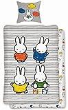 Bedding set miffy multicoloured 2-piece reversible 100% cotton striped rabbit kids design, 100% Cotton, Colourful, 135 x 200 cm + 80 x 80 cm