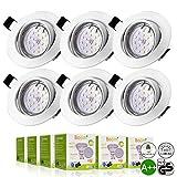 Bojim Pack de 6 Foco Empotrable Led Gu10 Luz de Techo 6W equivalente a Halogeno 54W Incluye Bombilla...