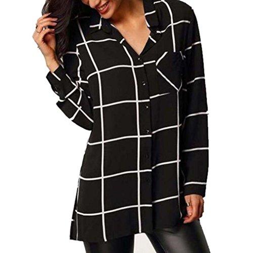 Damen Bluse Xinan Bluse Chiffon Langarm Shirt Tops (S, Schwarz) (V-neck Baumwoll-mischung Pullover)