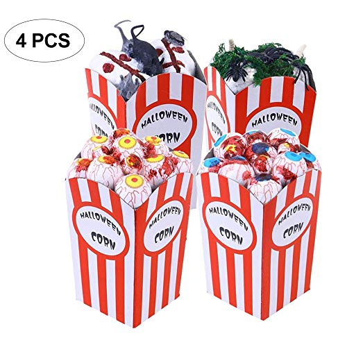 (KOBWA Halloween Simulation Eyeball Popcorn, 4 PCS Funny Scary Foam Spider Mouse Popcorn Toys for Bar Haunted House Halloween Decoration Props Party Supplies)
