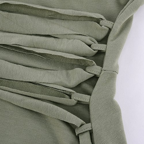 iBaste Maglia a maniche lunghe della signora V vestito Verde