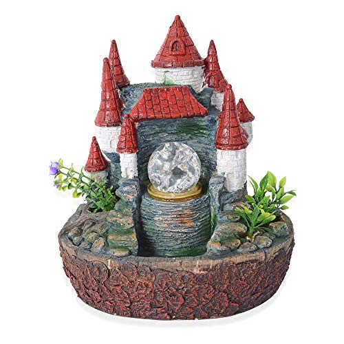 Fairy Castle Water fountain with rotating magical light globe Size 25x23 cm