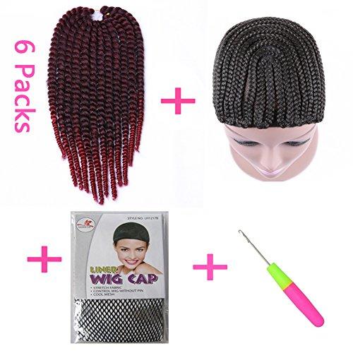 Hanne 6Packungen 35,6cm Havana Twist Zöpfe mit; Crochet geflochten Perücke Gap und rutschsicher Perücke Cap mit Knüpfteppich Häkelnadel Family Pack zum Flechten Haar