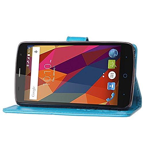 Double Magnetic Back Sucktion Retro Style PU Leder Flip Stand Case mit Kickstand und Wallet Beutel Funktion für ZTE L5 Plus ( Color : Black ) Blue