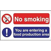 No Smoking Food Production Sign Selbstklebende Vinyl. 150 x 275mm. preisvergleich bei billige-tabletten.eu