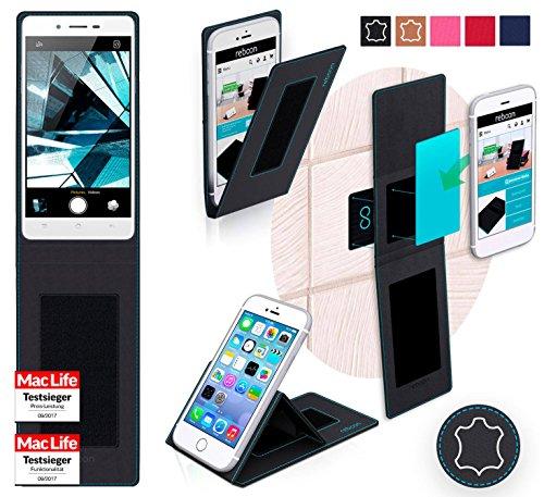 reboon Hülle für Oppo Mirror 5s Tasche Cover Case Bumper | Schwarz Leder | Testsieger