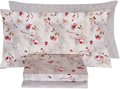 Completo letto singolo 1 una piazza lenzuola 100% cotone zucchi basics doppia federa una 1 piazza sopra + sotto + 2 federe (emotions col 1 - rosa)