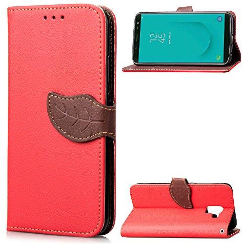 Artfeel Leder Brieftasche Strap Hülle für Samsung Galaxy J6 2018, Samsung Galaxy J6 2018 Handyhülle Rot Blätter Magnetisch Schnalle,Flip Buchstil mit Karte Schlüssel Stand Schutzhülle -
