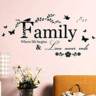 Living Room Wall Sticker, Internet Family Flower Butterfly Art Vinyl Quote Wall Stickers Wall Decals Home Deco
