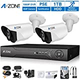 A-ZONE CCTV Camera Systems CCTV Systems 4CH 1080P DVR Recorder 2 x HD 1.3MP 960P Coaxial Outdoor Security Camera Home Security Camera System Night