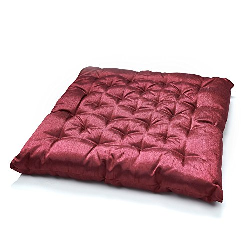 Baumwoll-satin-matratze-auflage (Stuhlkissen Matratzenkissen Bodenkissen Sitzkissen, Auflage, 40 x 40, 5 cm Dicke, Farbe:BORDEAUX)