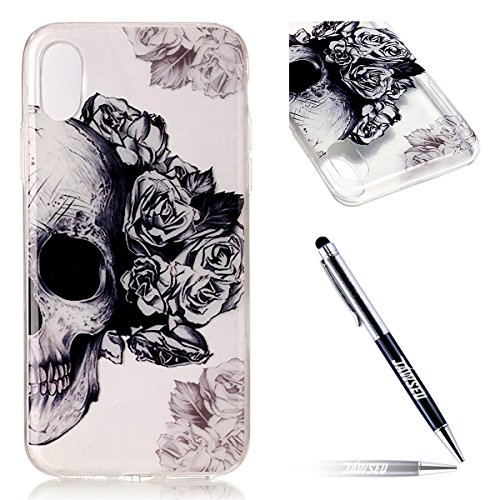 Custodia Cover iPhone X Transparente iPhone X Case, JAWSEU Creativo Disegno Antiurto Corpeture Cristallo Chiaro Case per iPhone X Super Sottile Case Custodia Cover per iPhone X Protettiva Shock-Absorp Teschio