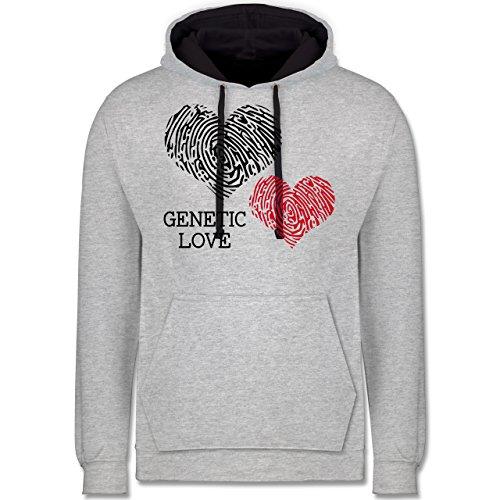 Romantisch - Genetic Love Fingerabdruck - Kontrast Hoodie Grau meliert/Dunkelblau