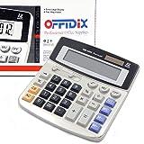 OFFIDIX oficina escritorio calculadora, Solar y batería Dual Power electrónico calculadora portátil pantalla LCD grande de 12 dígitos calculadora
