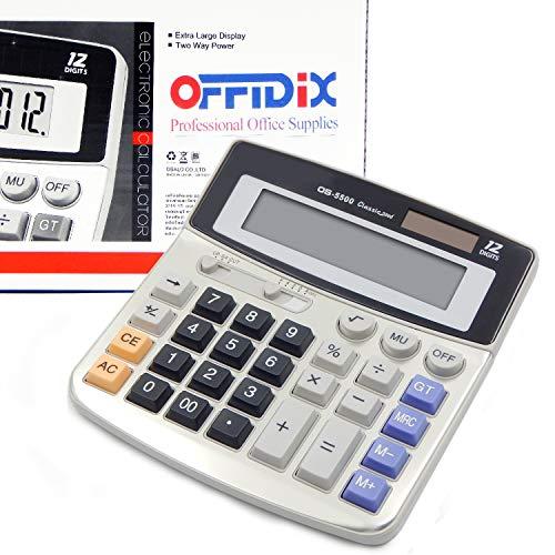 OFFIDIX Office Desktop Rechner Solar und Akku Dual Power Elektronischer Taschenrechner Portable 12 Digit Große LCD Display Taschenrechner 1PC
