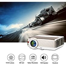 EUG WXGA LCD HD video proyector cine al aire libre Full HD 1080p apoyo 5000 alto lumen multimedia LED Proyectores para ordenador port¨¢til Xbox TV Box, HDMI USB VGA audio incorporado altavoz(Enchufes estándar ingleses Inglés Manual)