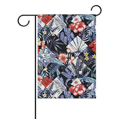 (LIANCHENYI Blue Palm Baum Blätter Doppelseitig Familie Flagge Polyester Outdoor Flagge Home Party Decro Garten Flagge 30,5 x 45,7 cm, Polyester, multi, 12x18(in))