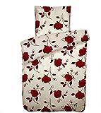 4 teilige Bettwäsche Microfaser 135x200 cm Rot Weiß Rosen Garnitur Set Bezug Doppelpack