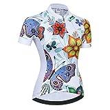 Weimostar 2018 Radtrikot Frauen Mountain Bike Trikot Shirts Kurzarm Rennrad Kleidung MTB Tops Sommer Sommer Kleidung Schmetterling weiß Größe L