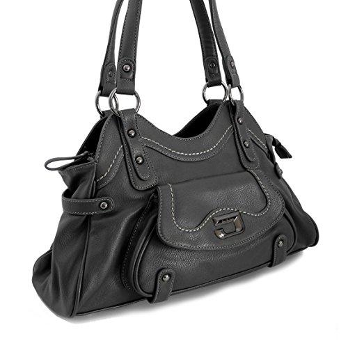 Jennifer Jones–Borsa a tracolla–di alta alla moda in finta pelle colori assortiti di zmoka®, Grau (grigio) - 0 Grau