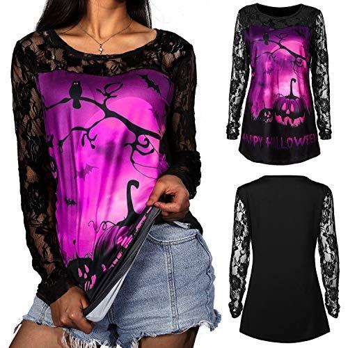 Damen Halloween Hemd Lange Hülsen Spitze Patchwork Kürbis Bluse für Halloween Party Kostüm (Lila, L) -