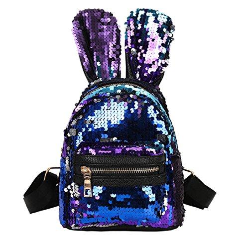 GiveKoiu-Bags Cool Rucksäcke für Mädchen für Schule Verkauf Billig 3Fashion Student Kinder Pailletten Rucksäcke + Kordelzug-Tasche + Messenger Bag, Kinder, 2019633, Blau, Free Size