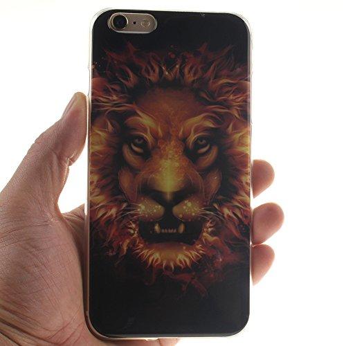 "Apple iphone 6/6s 4.7"" hülle,MCHSHOP Ultra Slim Skin Gel Schlank TPU Case Schutzhülle Silikon Silicone Schutzhülle Case Back Cover für Apple iphone 6/6s 4.7"" - 1 Kostenlose Stylus Pen (Blue Angry Face Flame Lion"
