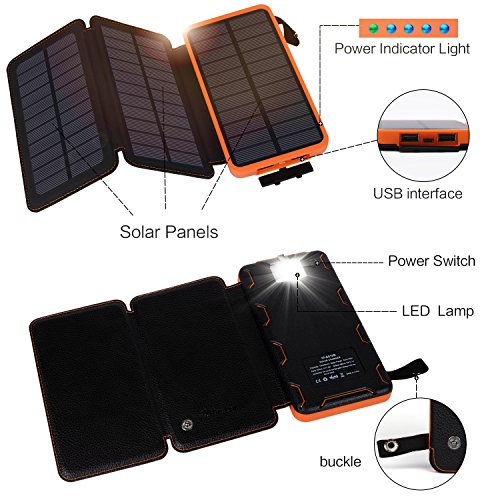Hiluckey Solar Ladegerät 10000mAh Tragbare Power Bank Outdoor 3 solarzelle 2-output faltbar wasserdicht Externe Akku mit LED Taschenlampe für Samsung Galaxy,iPhone,iPad,Andriod Smartphones,usw. - 2