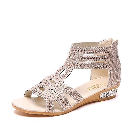 ☺HWTOP Roma Schuhe Frühlings Sommer Damen Frauen Keil Sandalen Mode Fisch Mund Hohle