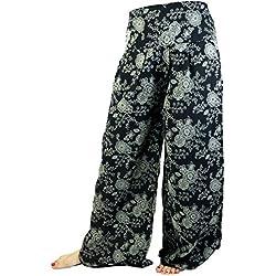 GURU-SHOP, Pantalones Palazzo Falda Campana Pantalones Verano Pantalones Hippie Goa Pantalones, Negro, Algodón, Tamaño:40, Pantalones Largos